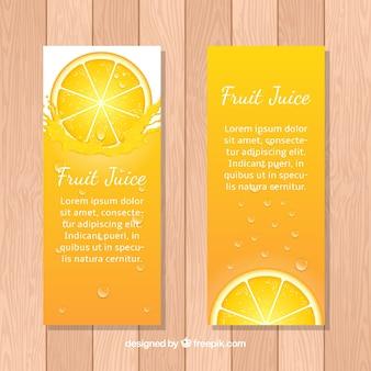 Decoratieve banners met jus d'orange