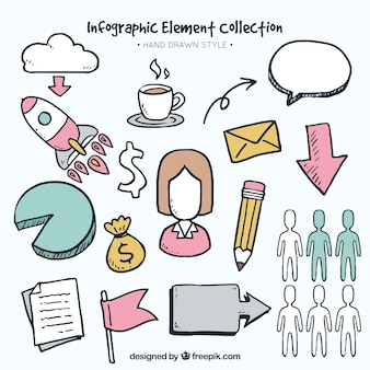 Decoratieve infographic elementen in de hand getekende stijl