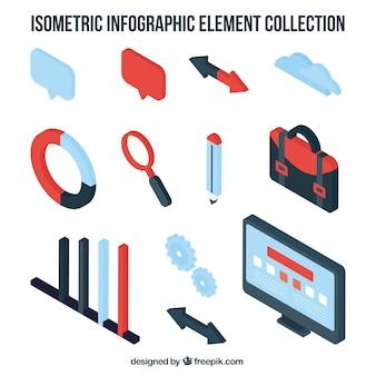 Decoratieve infographic elementen in isometrische stijl