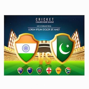 Decoratieve kaart met cricket nationale teams