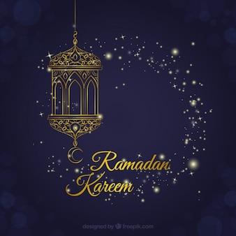 Decoratieve lantaarn ramadan achtergrond