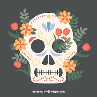 Decoratieve Mexicaanse schedel achtergrond met natuurlijke elementen