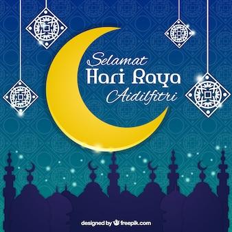 Decoratieve moon eid al-adha achtergrond