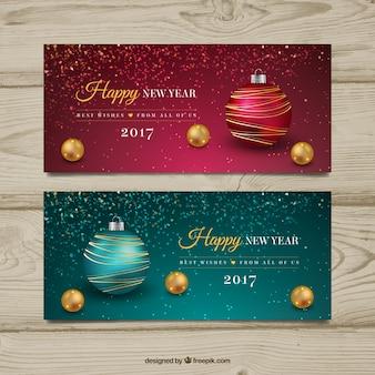 Decoratieve nieuwe jaar banners met kerstballen