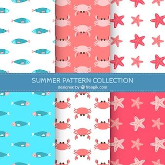 Decoratieve patronen pak van zeedieren