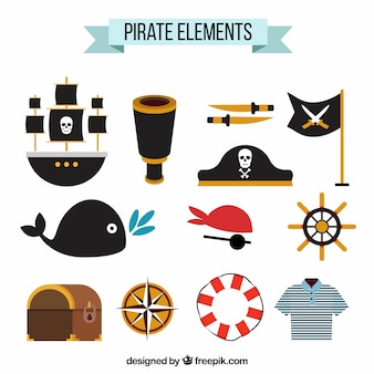 Decoratieve piraatartikelen in vlakke vormgeving