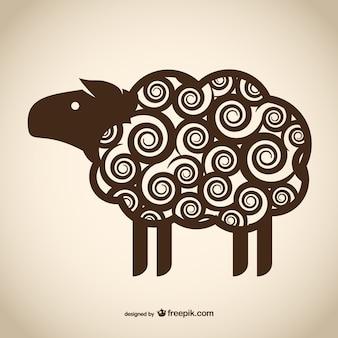 Decoratieve schapen tekening