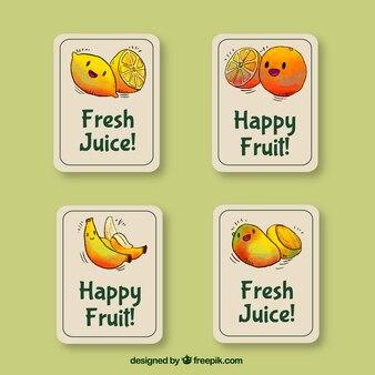 Decoratieve stickers met lachende fruitkarakters