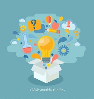 Denk buiten de doos, vectorillustratie.