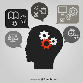 Denken hersenen beeld vector materiaal