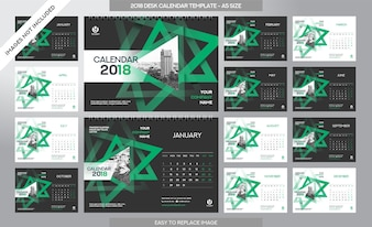 Desk Agenda 2018 Template - 12 maanden inbegrepen - A5 Maat - Art Brush Theme