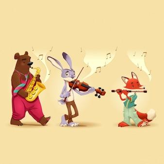 Dieren spelen muziekinstrumenten