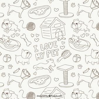 Dieren tekeningen patroon