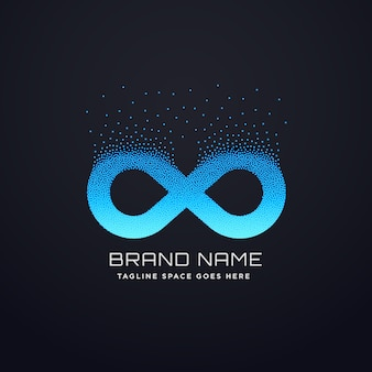 Digitaal oneindig logo ontwerp met florerende deeltjes