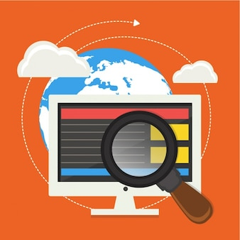 Digitale achtergrond met vergrootglas en de computer