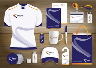 Digitale tech corporate identity, Gift Items sjabloon ontwerp met link set concept element. Business technologie briefpapier Vector Textuur papier ontwerp
