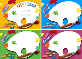 Diploma en kaart sjabloon met kleurpotloden en penseel