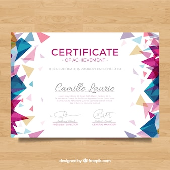 Diploma met veelhoekige gekleurde vormen