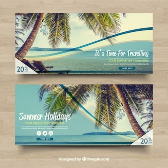 Discount banners met strandlandschap