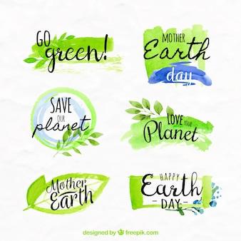 Diverse aarde dag aquarel stickers