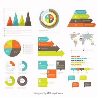 Diverse infographic elementen in vlakke bouwvorm