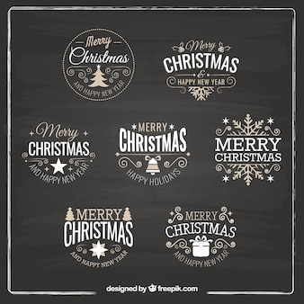 Diverse retro decoratieve kerst stickers
