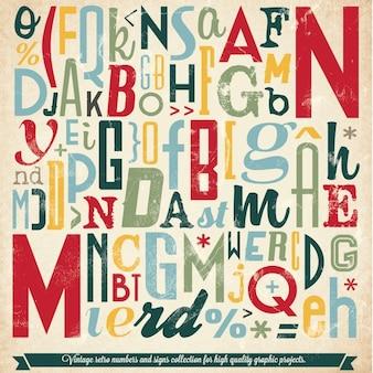 Diverse Retro Vintage Collection Typografie