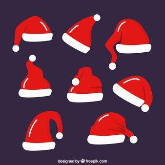 Diverse rode santa hoeden