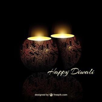 Diwali achtergrond met leuke kaarsen