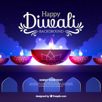 Diwali achtergrond met lichteffecten