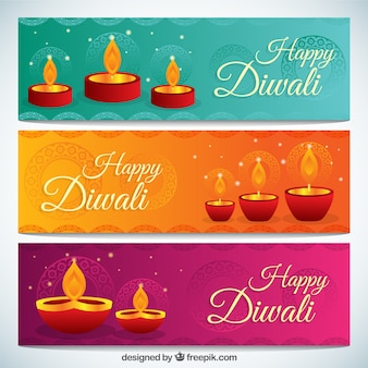 Diwali banners met kaarsen