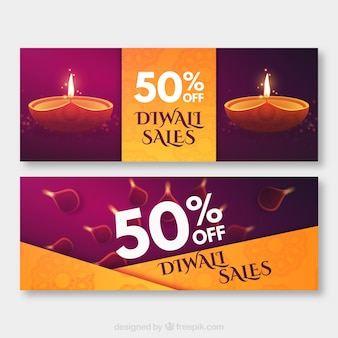 Diwali verkoop banners