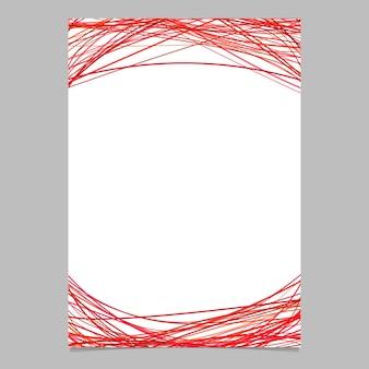 Document sjabloon met gebogen strepen in rode tinten - lege vector brochure illustratie op witte achtergrond