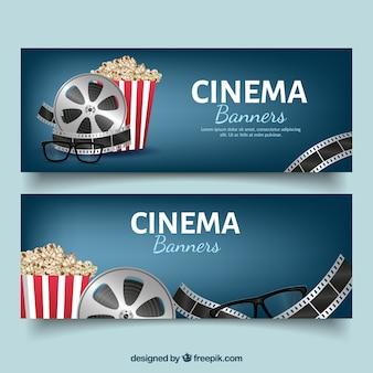 Donker blauwe banners met bioscoop objecten