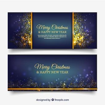 Donker blauwe banners met gouden confetti