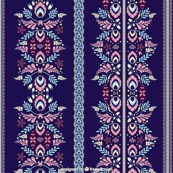 Donkerblauw patroon met bloemendecoratie