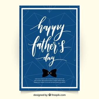 Donkerblauwe Vaderdagkaart met geometrische harten