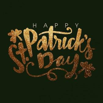 Donkere groene achtergrond met glanzende brieven voor st patrick dag
