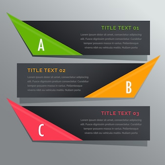 Donkere horizontale banners opties infographic
