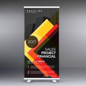 Donkere standee roll up banner ontwerp met gele abstracte vormen