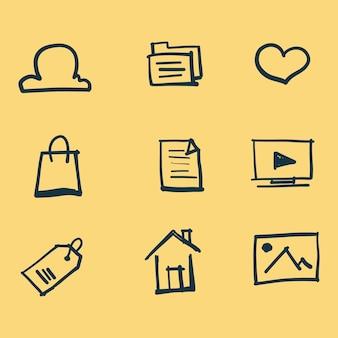 Doodle iconen ingesteld met gele achtergrond