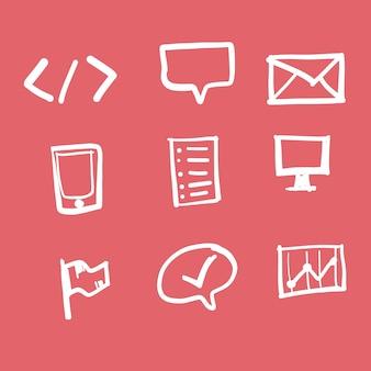 Doodle technologie icon set