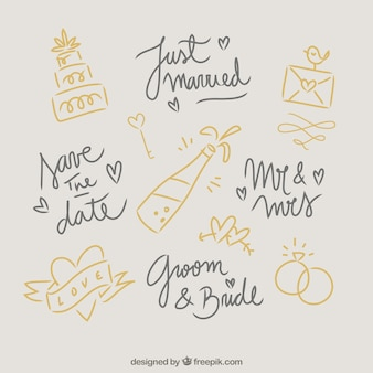 Doodles bruiloft elementen
