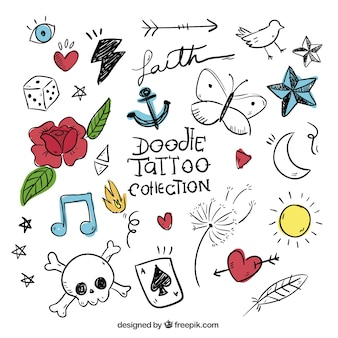 Doodles set van gekleurde tatoeages