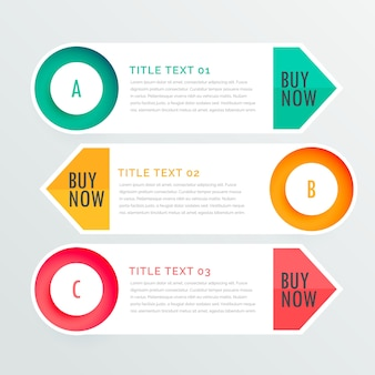 Drie banner infographic opties