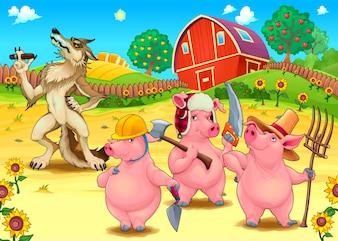 Drie kleine varkens en slechte wolf Cartoon vector sprookje illustratie