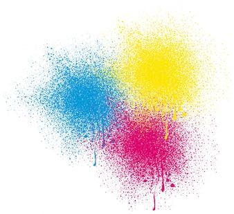 Drie kleuren spuit op witte achtergrond