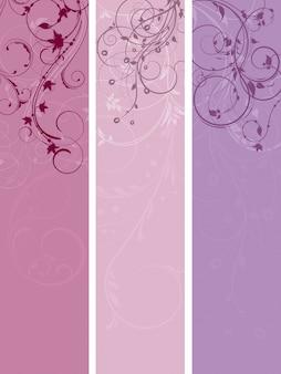Drie ontwerpen van bloemenpanelen in pastelkleuren