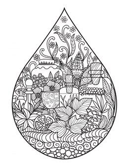 Druppel met bloemenontwerp