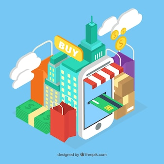 E-commerce achtergrond ontwerp